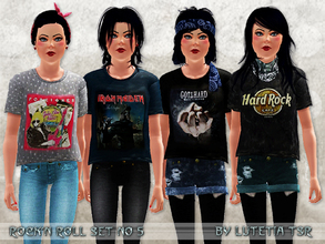 Sims 3 — RockNRoll Set No 5 by Lutetia — This set contains shirts with 14 different (bandlogo) prints ~ Works for female