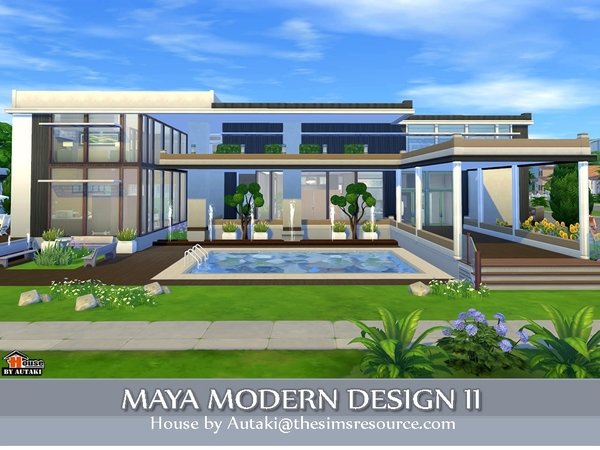 Autaki 39 s maya modern design 2 for Sims 4 modern house plans