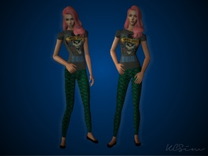 Sims 2 — Mermaid Leggings With Band Tee by KCsim — I\'m back and ready to keep uploading until the Christmas Holidays are