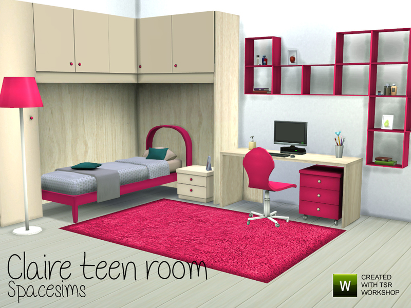 Spacesims 39 claire teen room for Sims 4 bedroom ideas