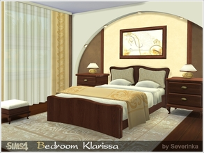 Sims 4 — Bedroom Klarissa by Severinka_ — Set of bedroom furniture 'Klarissa' in the Modern style. The classic dark wood