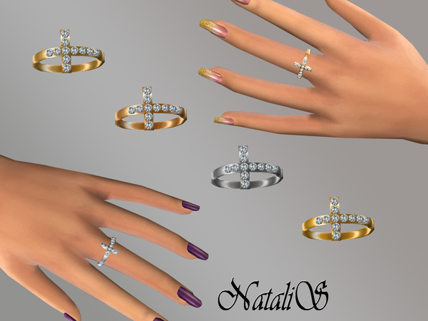 Natalis Cross With Crystals Ring Ft Fa