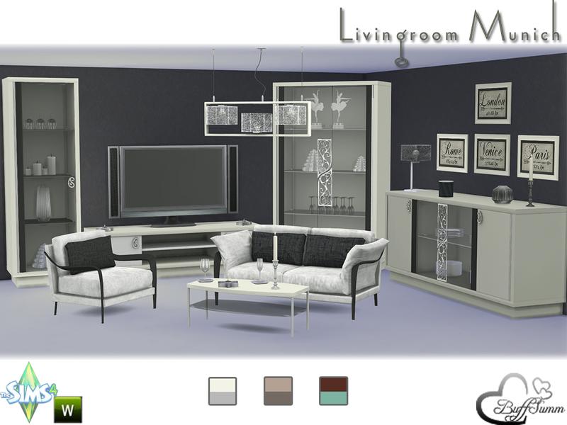 Buffsumm 39 s livingroom munich for Salon moderne sims 4