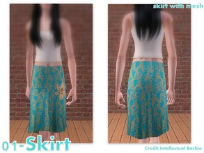 Sims 2 — 01-Skirt by Well_sims — Beautiful green skirt with gold ornament for your sim.