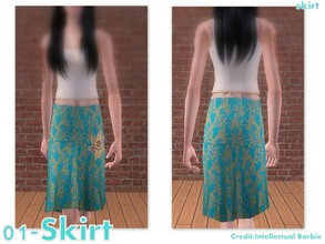 Sims 2 — 01-Skirt - only skirt by Well_sims — Beautiful green skirt with gold ornament for your sim. -Only skirt