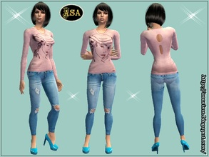 Sims 2 — ASA_Dress_277_AF by Gribko_Sveta — Pink jacket with fragmentary jeans for women TS2