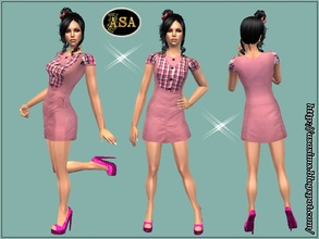 Sims 2 — ASA_Dress_278_AF by Gribko_Sveta — Pink dress with checkered inserts for women TS2