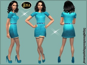 Sims 2 — ASA_Dress_279_AF by Gribko_Sveta — Turquoise dress with stockings for women TS2
