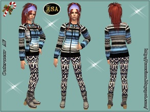 Sims 2 — ASA_Dress_282_AF by Gribko_Sveta — Winter knitted suit for women TS2
