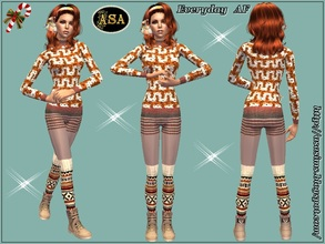 Sims 2 — ASA_Dress_285_AF by Gribko_Sveta — Knitted suit with gaiters for women TS2