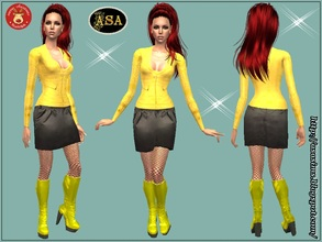 Sims 2 — ASA_Dress_286_AF by Gribko_Sveta — Yellow jacket with a black skirt for women TS2