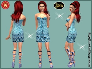 Sims 2 — ASA_Dress_287_AF by Gribko_Sveta — Jeans dress with open shoulders for women TS2