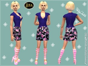 Sims 2 — ASA_Dress_289_AF by Gribko_Sveta — Dark blue vest with a skirt in flowers for women TS2
