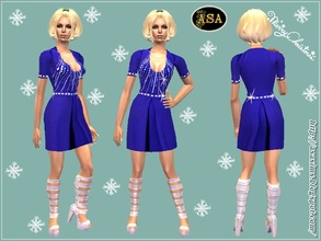 Sims 2 — ASA_Dress_290_AF by Gribko_Sveta — Dark blue dress with spangles for women TS2
