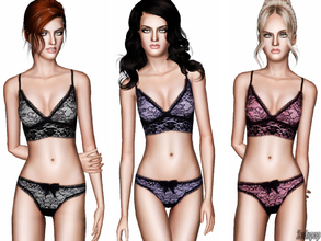 Sims 3 — Fashion Set 15 by zodapop — Scalloped lace bra and thong. ~ Custom launcher thumbnails ~ Each item has 1