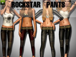 Sims 3 — Teen Rockstar Pants by Black_Lily — Rockstar Pants for teen girls. Everyday Recolorable