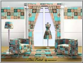 Sims 3 — Star Patch_marcorse by marcorse — Geometric pattern: star shaped floral patchwork in aqua and apricot