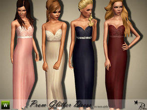 Sims 3 — Teen Prom Glitter Dress by Black_Lily — Prom Glitter Dress for teen girls. Formal Recolorable
