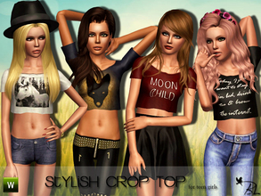 Sims 3 — Teen Stylish Crop Top by Black_Lily — Stylish Crop Top for teen girls. Everyday/Sleepwear/Athletic Mesh by All