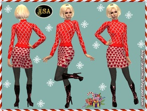 Sims 2 — ASA_Dress_292_AF by Gribko_Sveta — Red knitted suit for women TS2