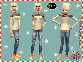 Sims 2 — ASA_Dress_293_AF by Gribko_Sveta — Beige sweater with jeans for women TS2
