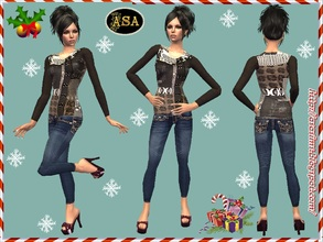 Sims 2 — ASA_Dress_294_AF by Gribko_Sveta — Brown jacket with jeans for women TS2