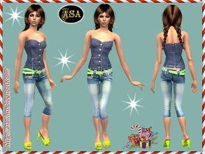 Sims 2 — ASA_Dress_295_AF by Gribko_Sveta — Jeans top with bridges for women TS2