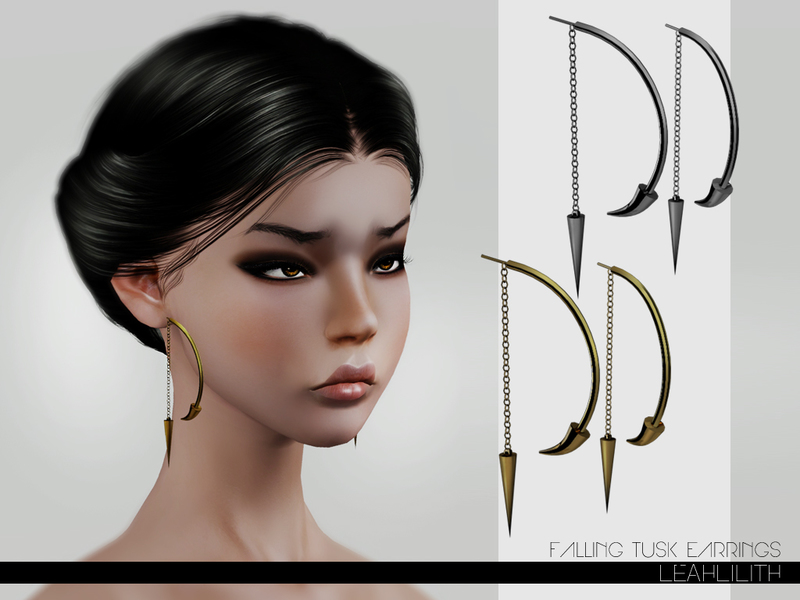 sims 3 earrings lillith s leahlillith falling tusk earrings 3411