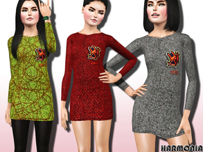 Sims 3 — TEEN ~ Knit Dress with Monster Logo by Harmonia — Kenzo's monster-laden sweater dress is a covetable choice for