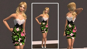 Sims 2 — Floral Dress by branden2 — Just a cute black floral dress Mesh required! download the mesh 016 from the website