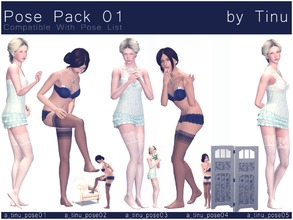 Sims 3 — Pose Pack 01 by Tinu by Tinuleaf — 5 Female Adult poses compatible with the pose list. You can find the