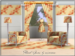 Sims 3 — Floral Gears_marcorse by marcorse — Geometric pattern: random repeat design of orange, floral 'gears'