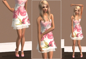 Sims 2 —  Layered Floral Dress by branden2 — You need to download the mesh 021 from the site :)
