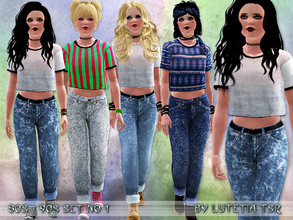 Sims 3 — 80s~90s Set No 1 by Lutetia — This set contains a wide cropped shirt and a pair of jeans in the style of the