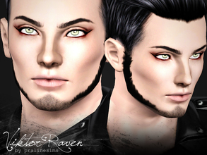 Sims 3 — Viktor Raven by Pralinesims — Viktor Raven, mystic sim with light green eyes and dark blue hair. You MUST