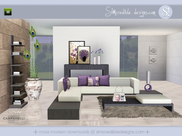 Tsr simcredible for Modern living room sims 4