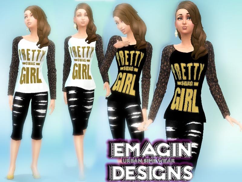 emagin360\u0027s Brown Pretty Girl Swag Tee /w Long Sleeves