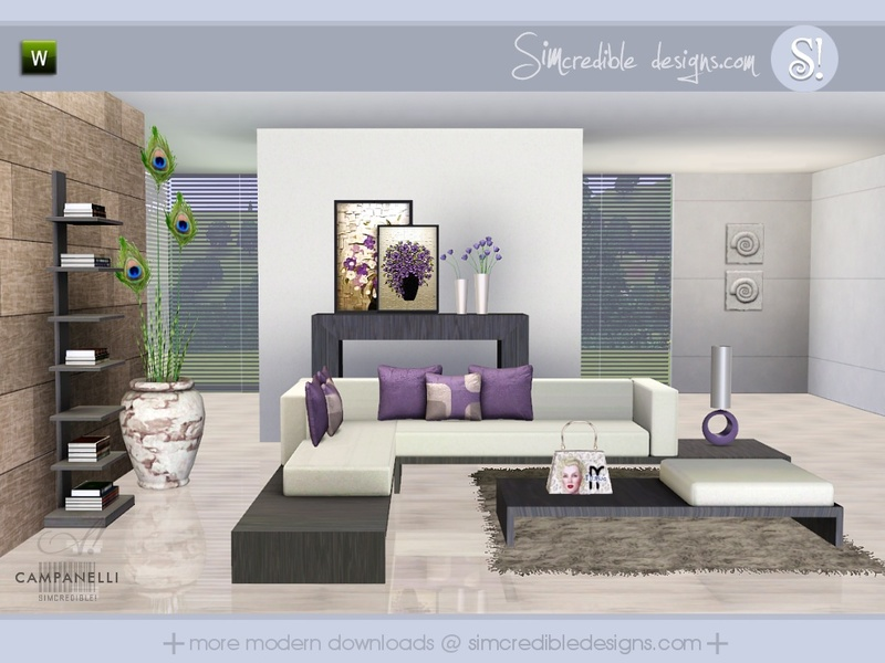 Simcredible 39 s campanelli for Modern living room sims 4
