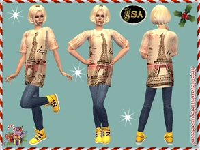 Sims 2 — ASA_Dress_304_AF by Gribko_Sveta — Vest with jeans and yellow boots for women TS2