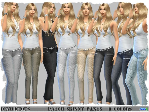 Patch Skinny Pants by Devilicious