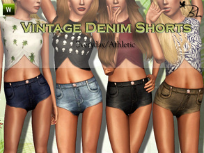 Sims 3 — Teen Vintage Denim Shorts by Black_Lily — Vintage Denim Shorts for teen girls. Everyday/Athletic Recolorable