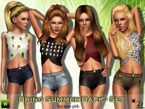Sims 3 — Teen Bring Summer Back - Set by Black_Lily — Set includes top & shorts for teen girls. Recolorable