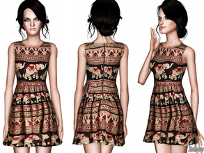 Sims 3 — Multi-print Babydoll Dress by zodapop — Rows of intricate elephants parade among geometric stripes on this