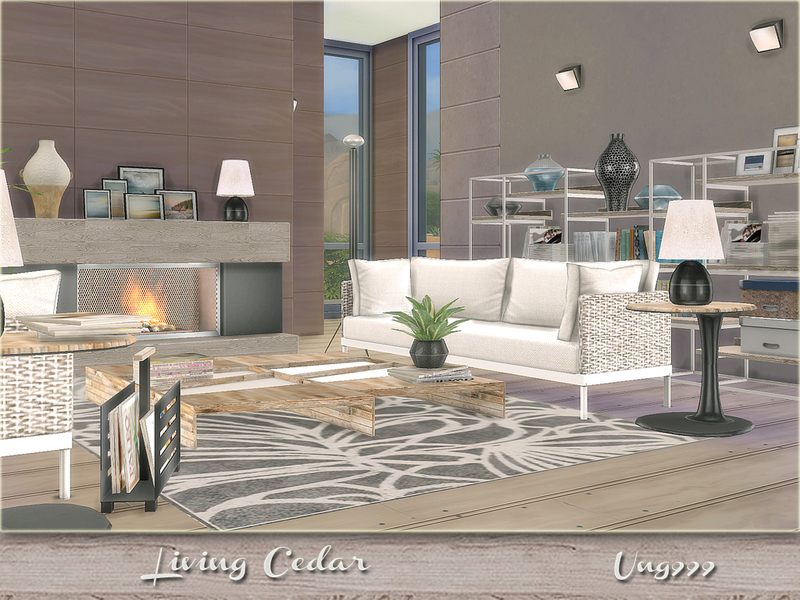 Ung999 39 s living cedar for Modern living room sims 4