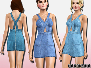 Sims 3 — Cutout Bodice Denim Mini Dress by Harmonia — '70s-inspired denim with this mini dress. Perfect for summer, it