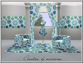 Sims 3 — Coasters_marcorse by marcorse — Geometric pattern: floral coasters in blue green and white