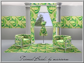 Sims 3 — Turned Back_marcorse by marcorse — Geometric pattern: circle motif with the edge curled in green, blue and