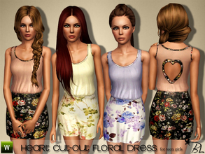 Sims 3 — Teen Heart Cut-Out Floral Dress by Black_Lily — Heart Cut-Out Floral Dress for teen girls Everyday/Formal Mesh