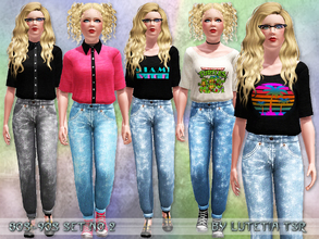 Sims 3 — 80s~90s Set No 2 by Lutetia — This set contains two outfits in the style of the 80s/90s ~ Works for female teens