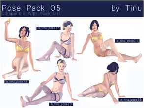 Sims 3 — Pose Pack 05 by Tinu by Tinuleaf — 5 Female Adult poses compatible with the pose list. You can find the